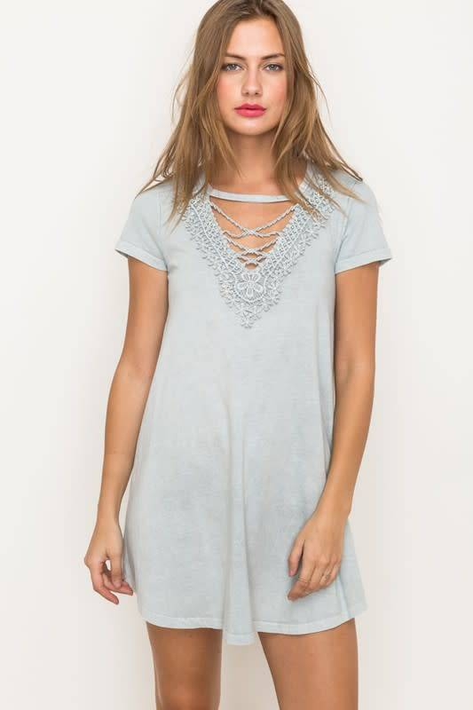 Jessa Lace Front Det Washed Knit Dress