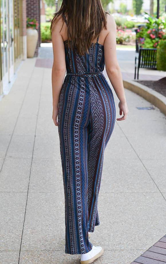 Priscilla Striped Surplice Front Cami Jumpsuit