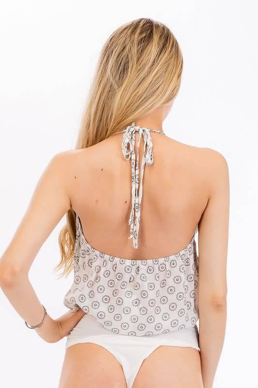 Jasmine Print Ruffle Halter Bodysuit