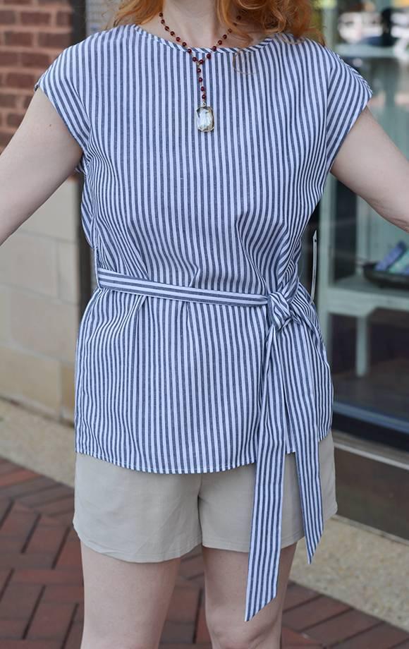 Eleanor Stripe S/S Top W/Tie Waist