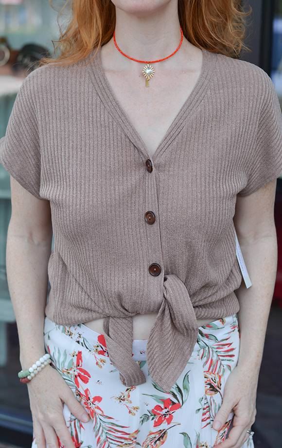 Hazel Ribbed Front Tie Button Down Top