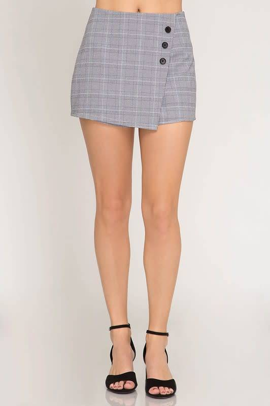 Claire Asym Glen Plaid Skort W/Side Buttons