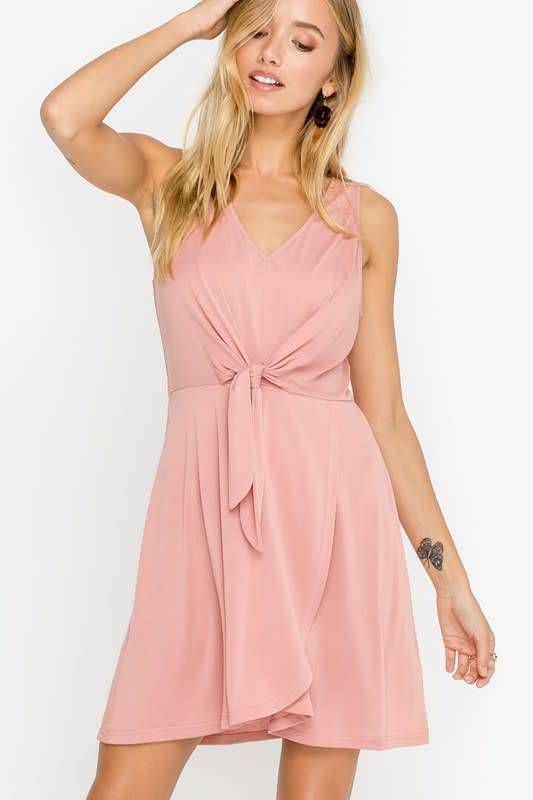 Knotted Tie Front Flowy Dress