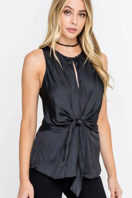 Kelly Silky S/L Tank W/Front Knot Tie Sash