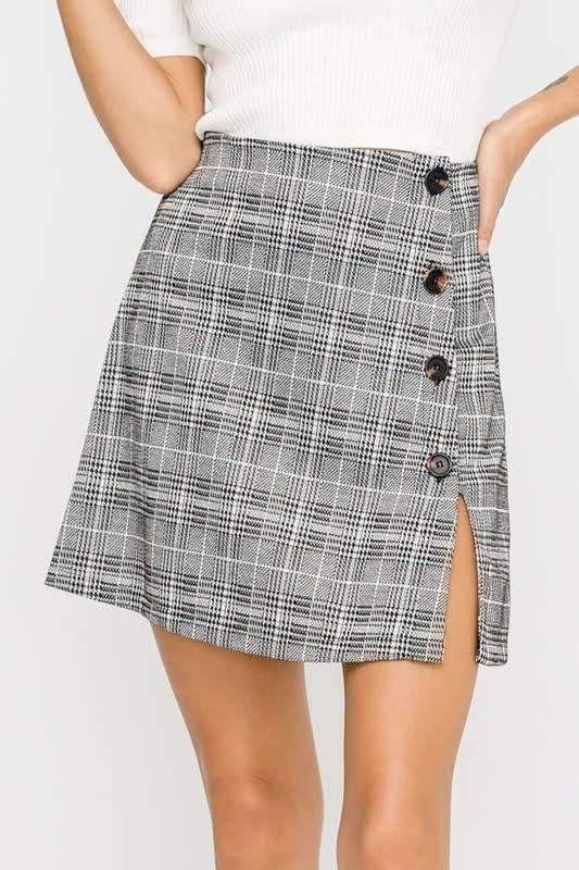 Side Buttoned Plaid Mini Skirt
