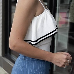 Sonia Contrast Layered Tank W/Front Ruffle