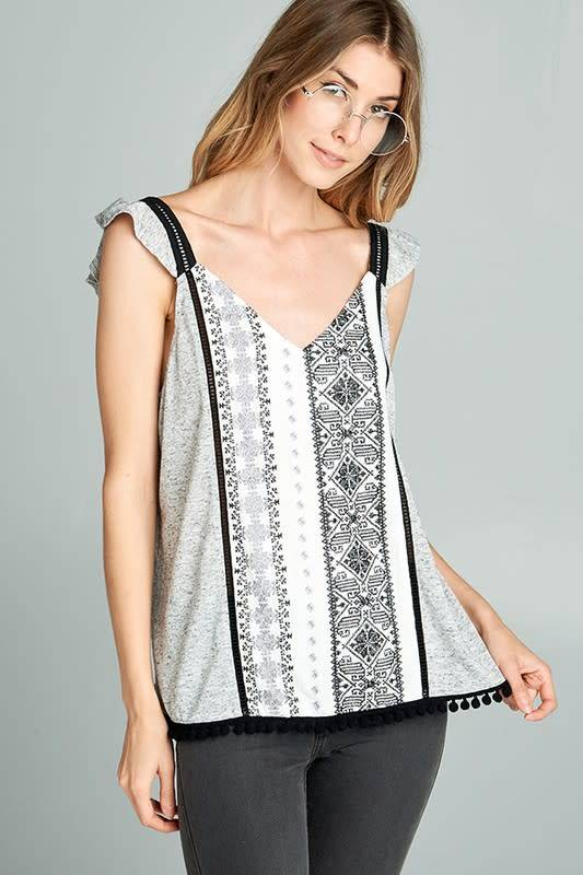 Sally Embroidered Top W/Pompom Detail