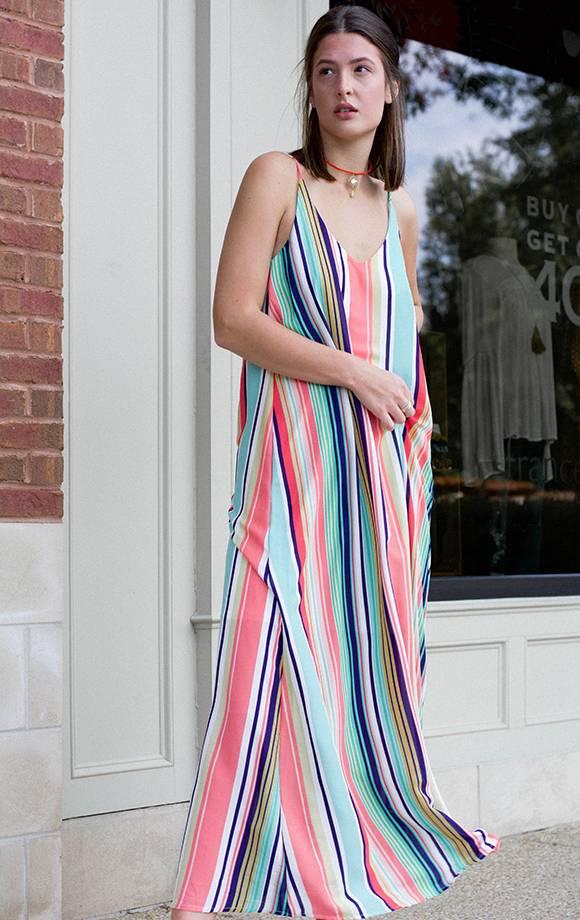 Melody Rainbow Stripe Maxi Dress