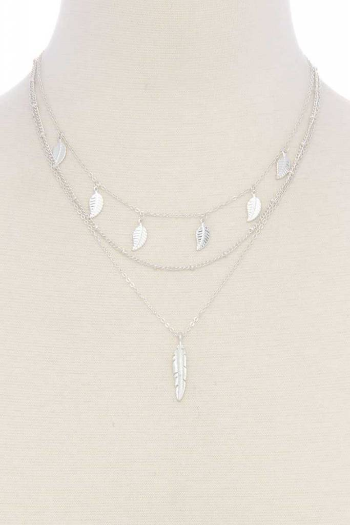 Leaf & Feather Layrd Necklace