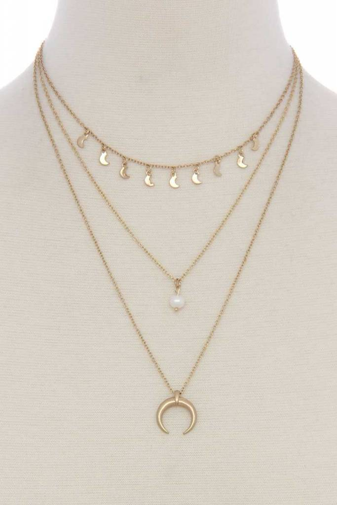 Crescent Moon Charm Multi Layrd Necklace