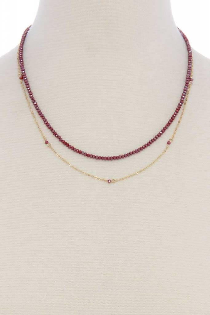 Beaded Chain Dbl Layrd Short Necklace