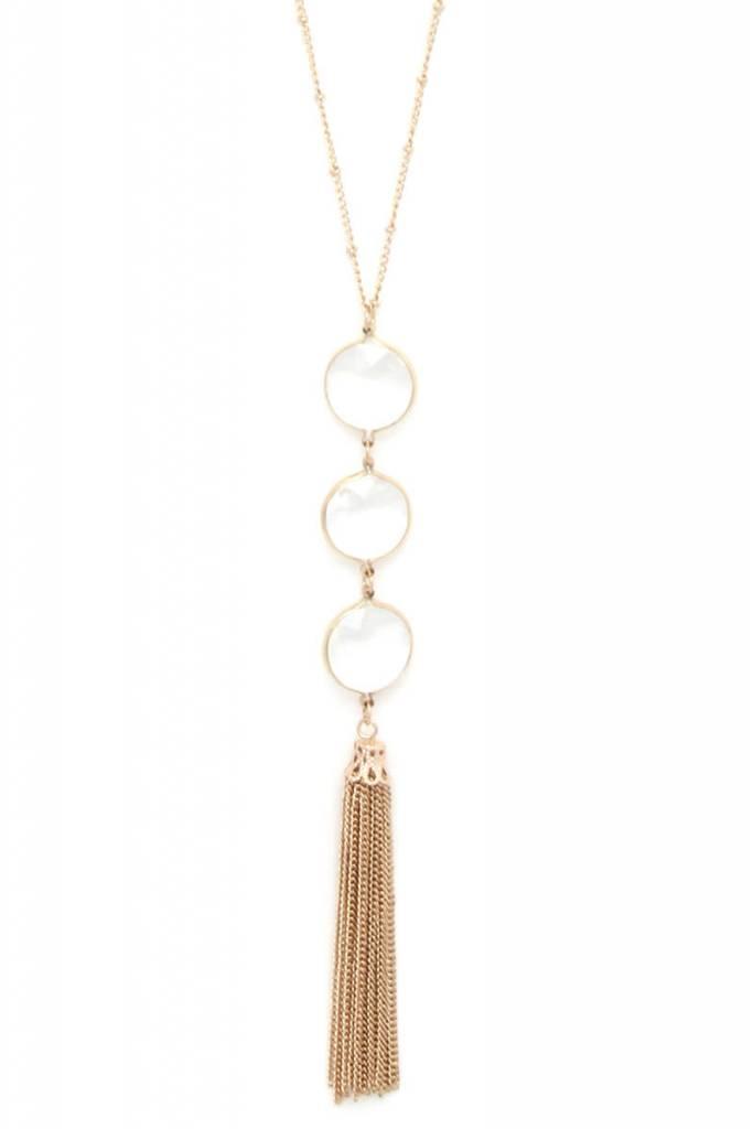 Glass Pendant Chain Tassel Necklace