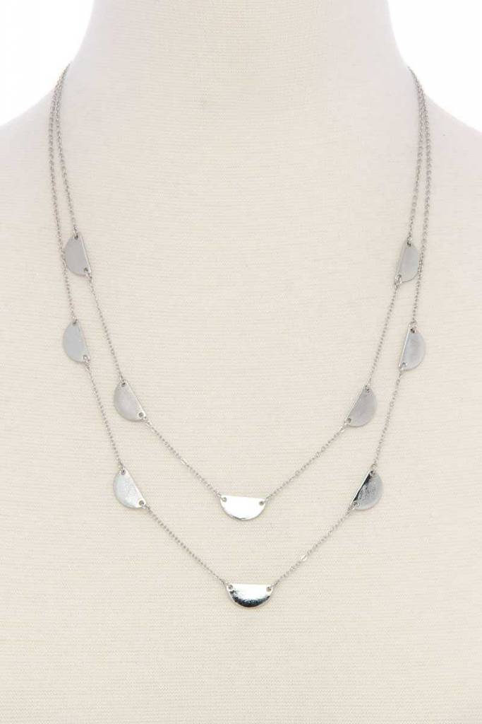 Half Circle Charms Layrd Necklace