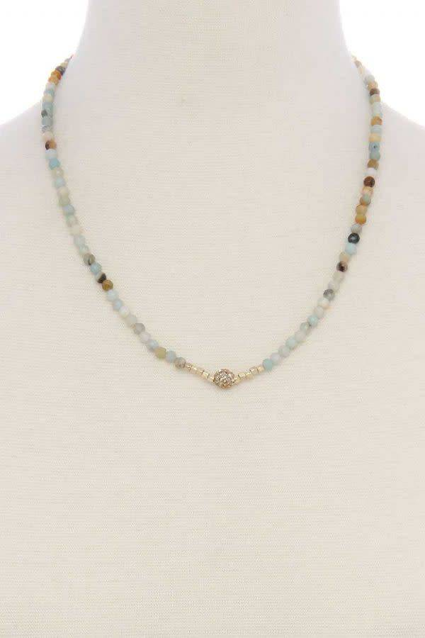 Beaded Short Necklace W/Rhinstone