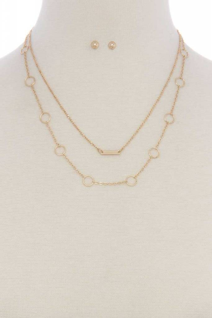 Metal Bar Dbl Metal Chain Necklace