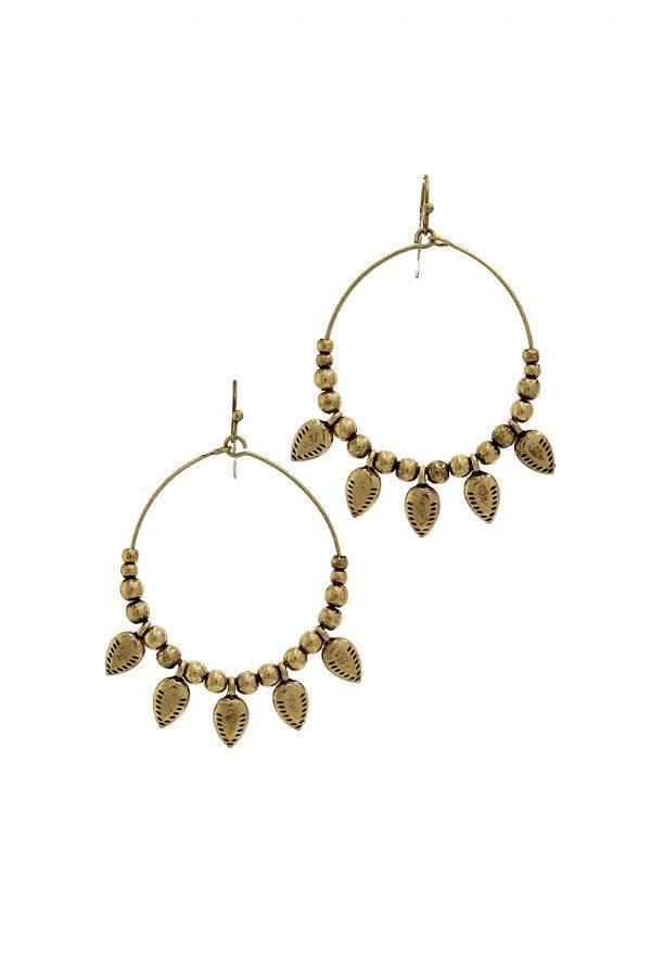 Leaf Beaded Hoop Earrings