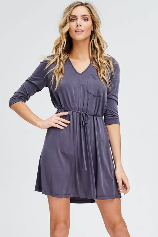 Emilia 3/4 Slv Waist Tie Dress