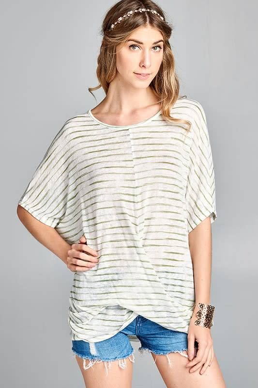 Rosemary Sheer Striped Top W/Front Twist