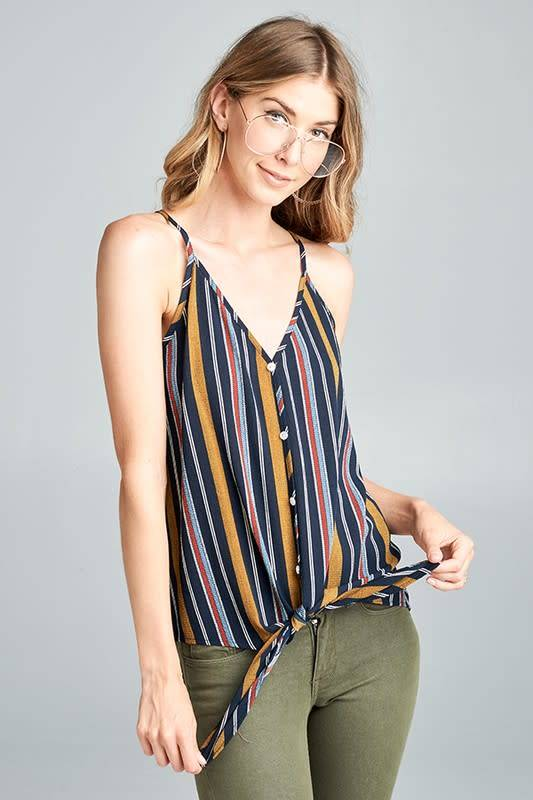 Aimee Striped Button Down Top W/Front Tie