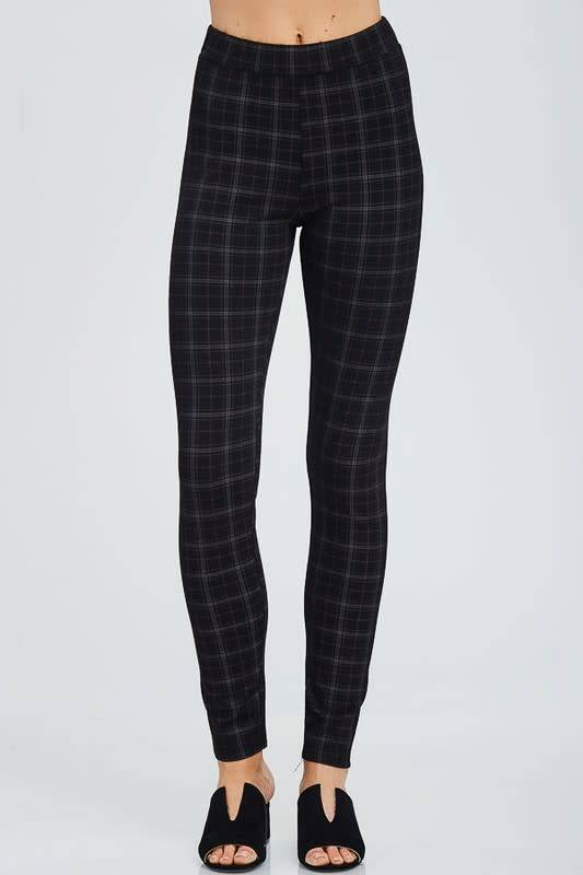 Ariana Plaid Prt Fitted Pants