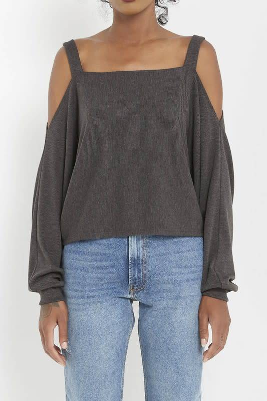 Stephanie Ribbed Cold Shoulder Knit Top