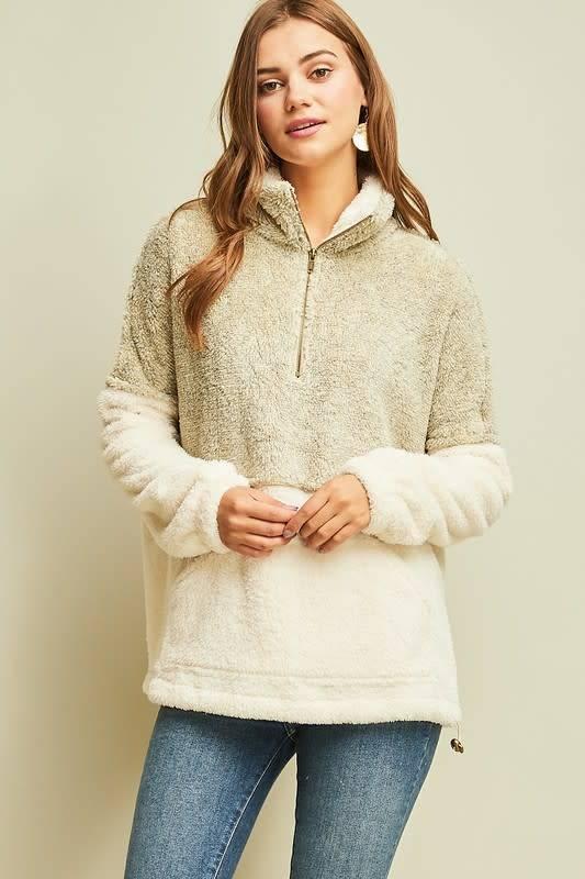 Tenley Faux Sherpa Colorblock Pullover