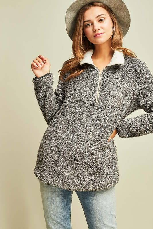 Meghan Faux Sherpa Solid Pullover
