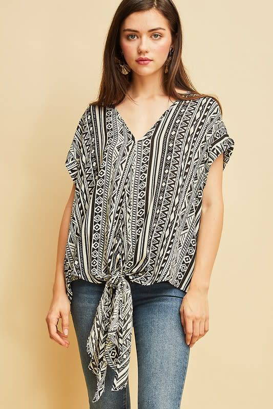 Ruby Tribal Print Tie Front Blouse
