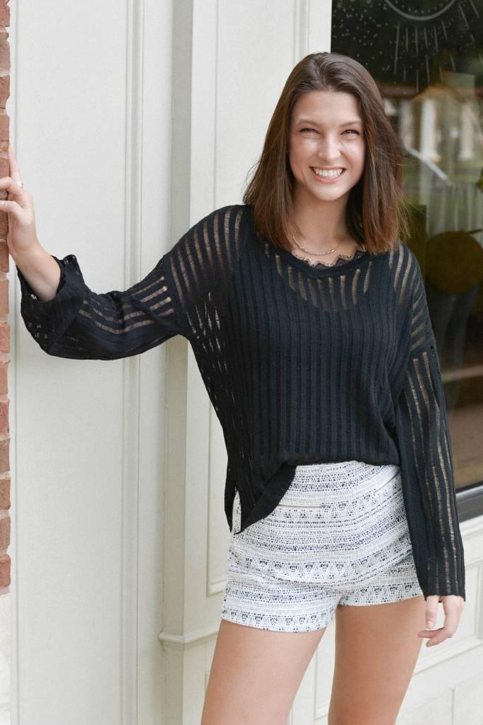 Catherine Tweed Metallic Thread Shorts