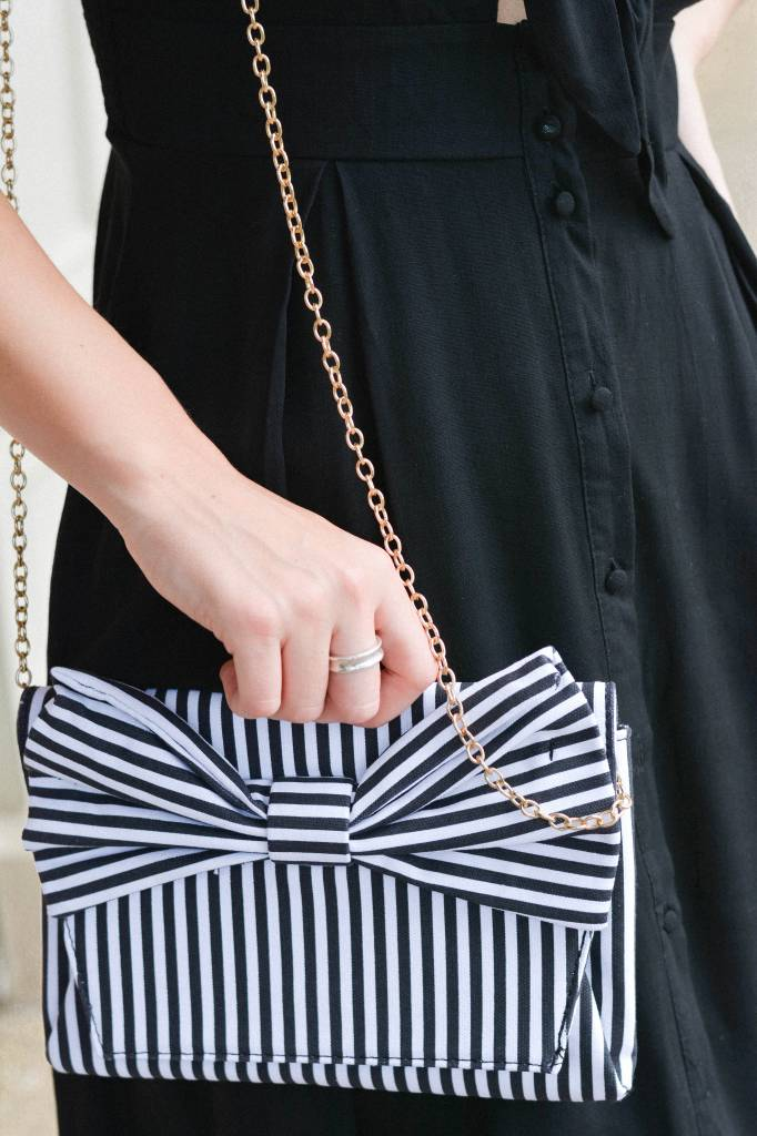 Candace Striped Bow Front Clutch