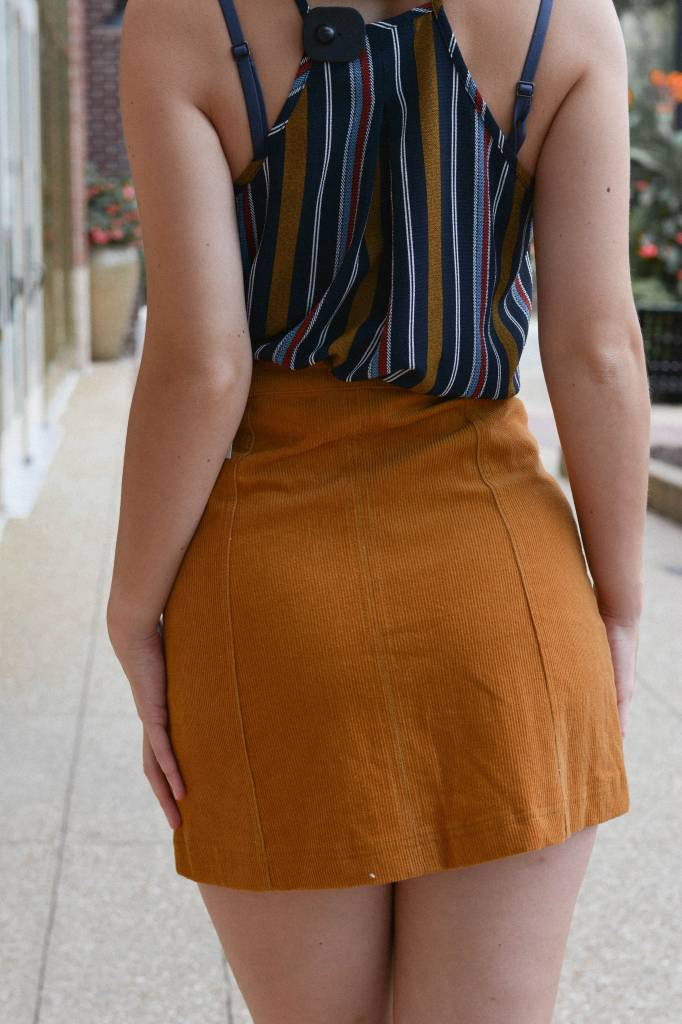 Haley Corduroy Aline Button Skirt