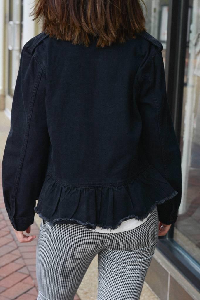 Sabrina Flounce Hem Denim Jacket