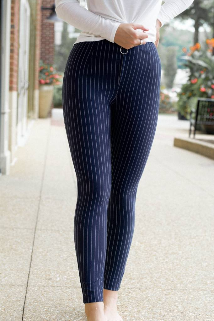 Chloe Fitted Striped Pants W/Zipper