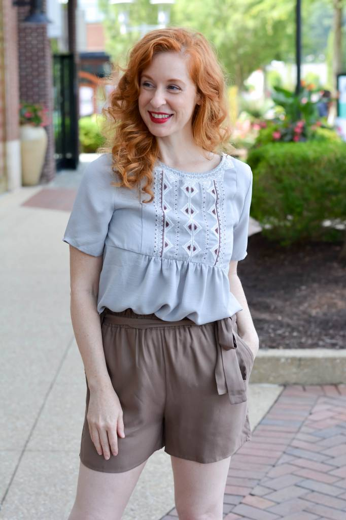 Leah S/S Embroidered Woven Top