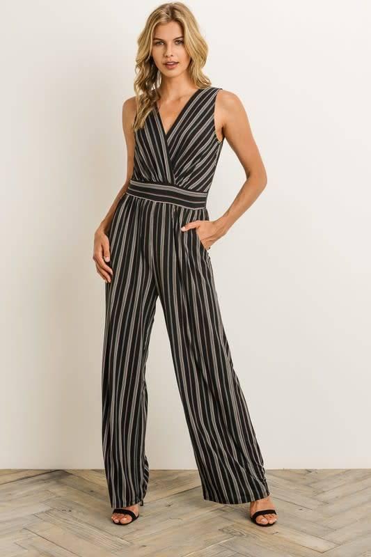 Emery S/L Striped Jumpsuit