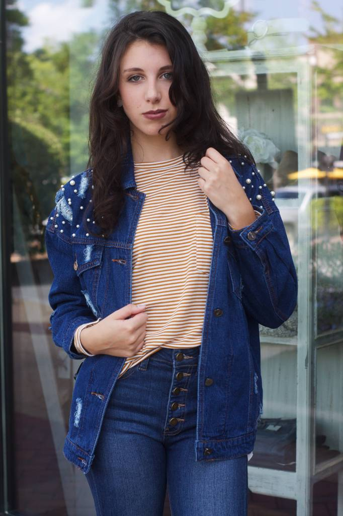 Camila Distressed Denim Jacket W/Pearl Details