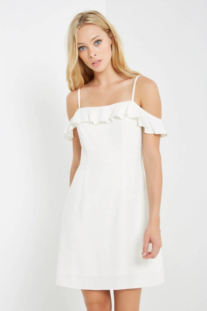 Ruffle Open Shoulder Linen Blend Dress