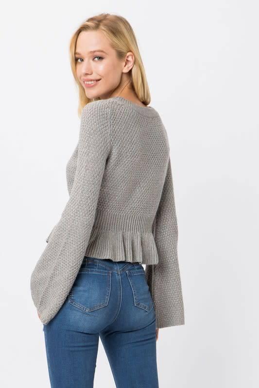 Cropped Sweater Peplum Top