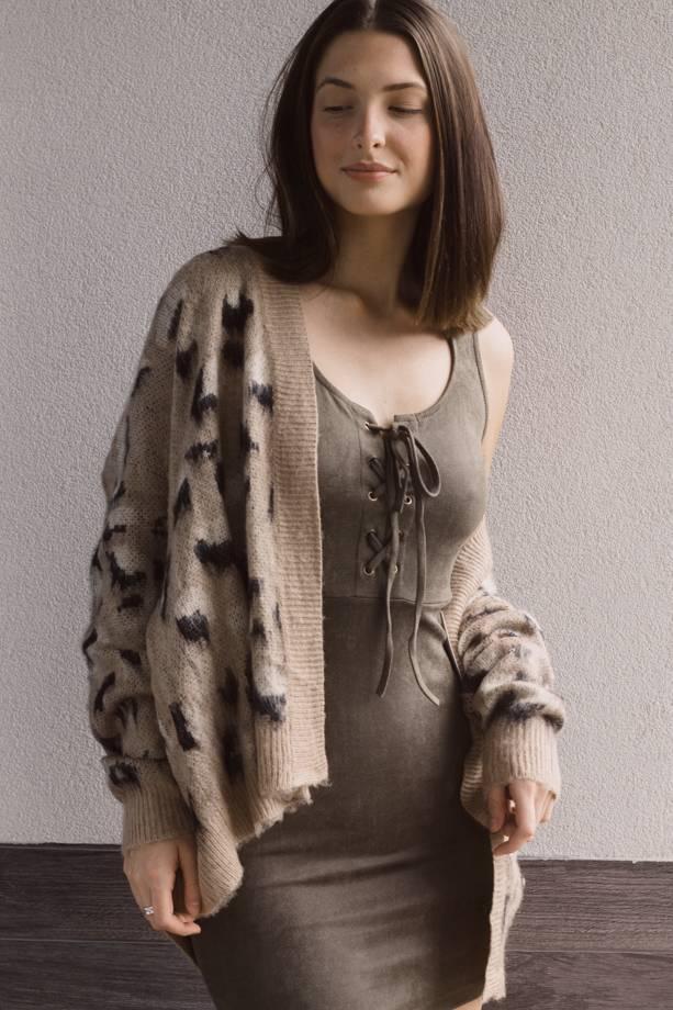 Desiree Leopard Brushed Knit Cardigan