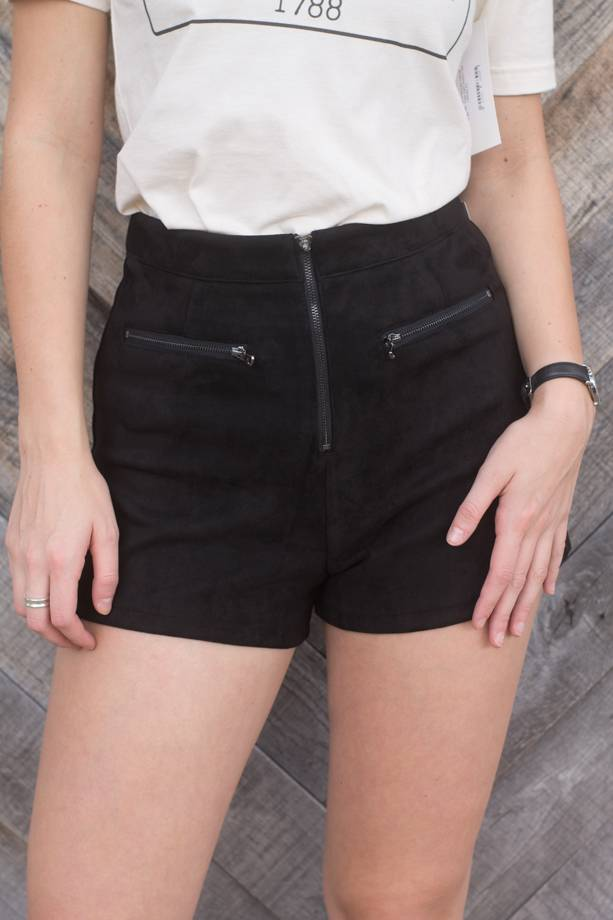 Wendy Faux Suede Shorts W/Exposed Zippers