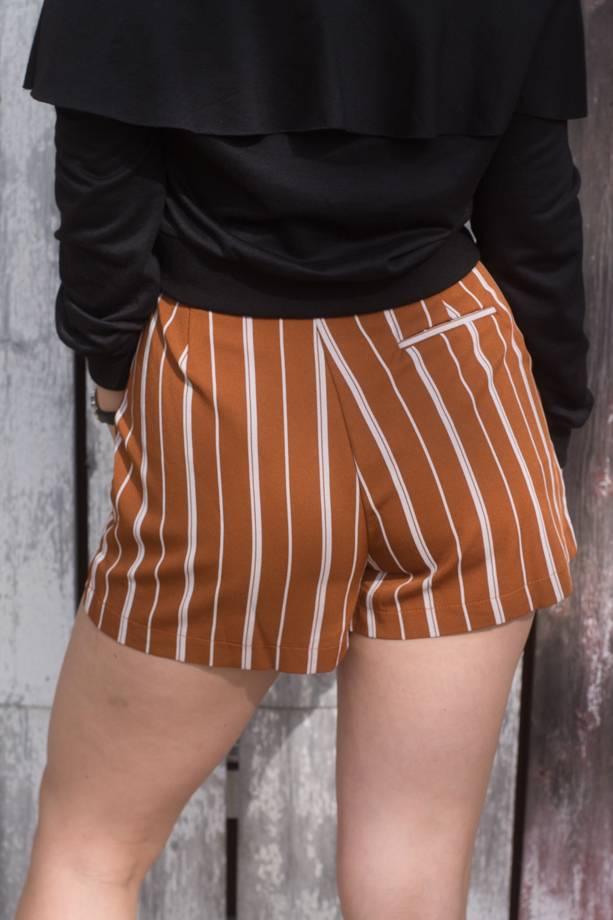 Waverly Stripe Belted Pleat Shorts