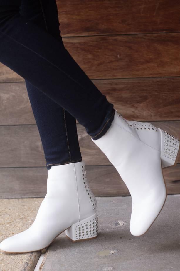 Violet Studed Block Heel Ankle Bootie