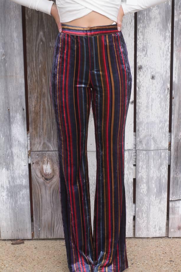 Rochella Hi Waist Striped Velvet Bellbottoms
