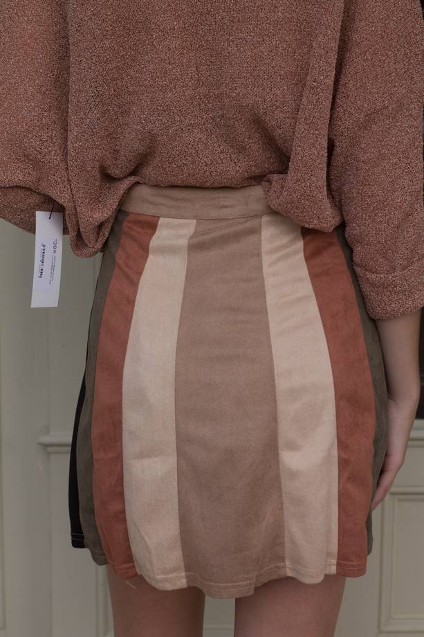 Annora Colorblock Aline Suede Skirt