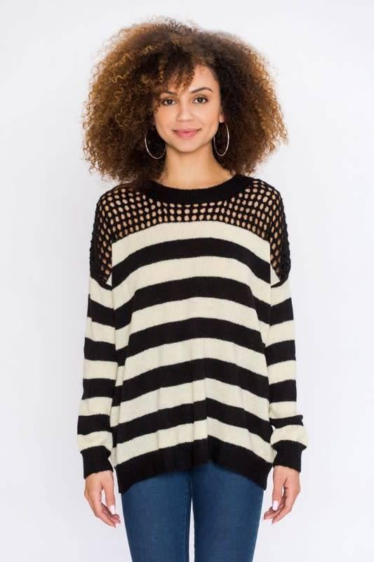 Striped Sweater W/Netting Detail