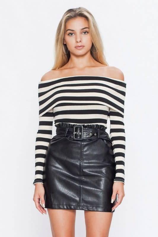 Wide Striped Off Shoulder Knit Bodysuit