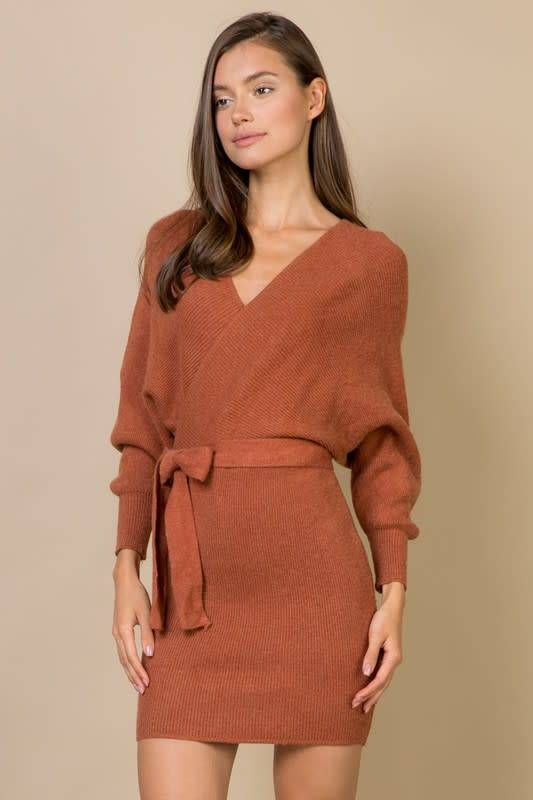 L/S Wrap Sweater Dress