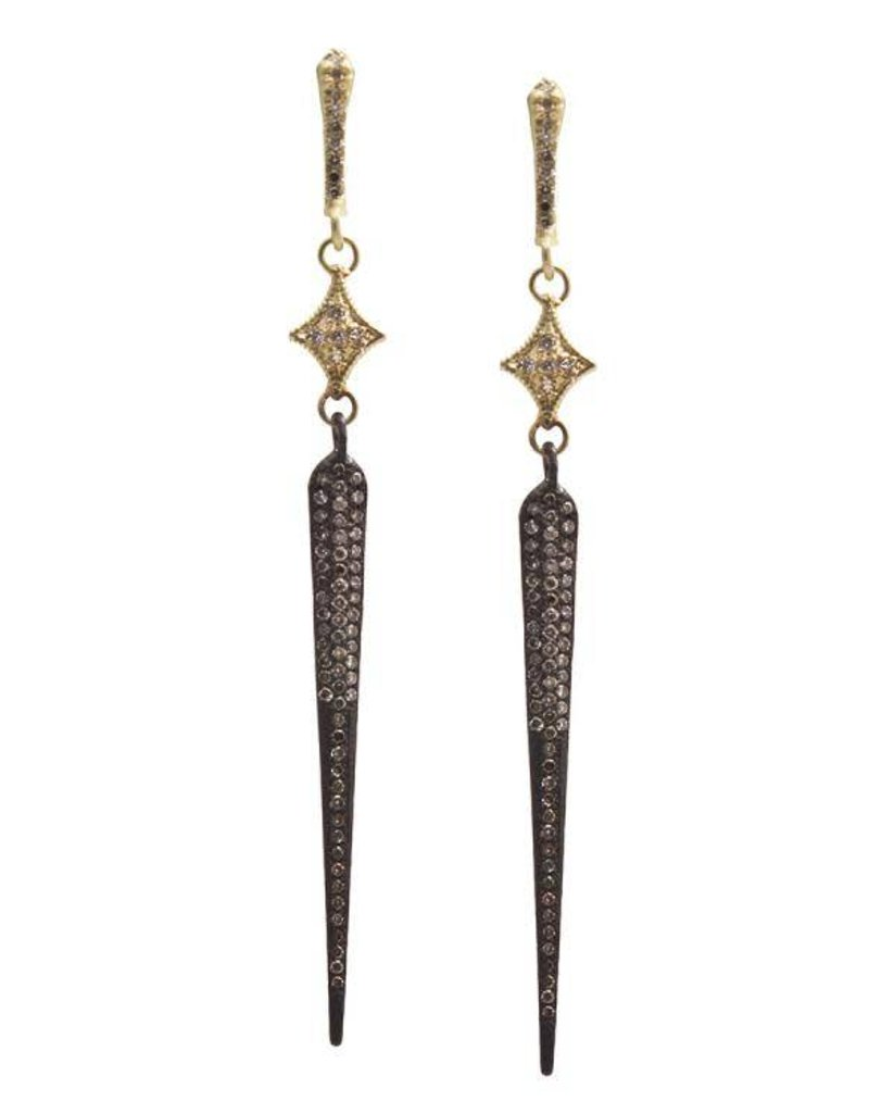 Armenta Old World Long Pave Spike Earring