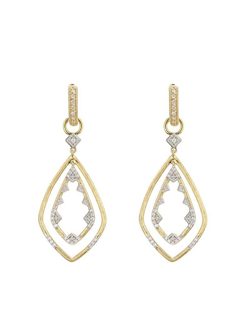 Jude Frances Lisse Double Drop Open Kite Earring CharmsCollection: Lisse Style Name: LISSE DOUBLE DROP OPEN KITE EARRING CHARMS Style #: C05S18-WDCB-Y Description: From the Lisse Collection, the Lisse Double Drop Open Kite Earring Charms feature pave round diamonds se