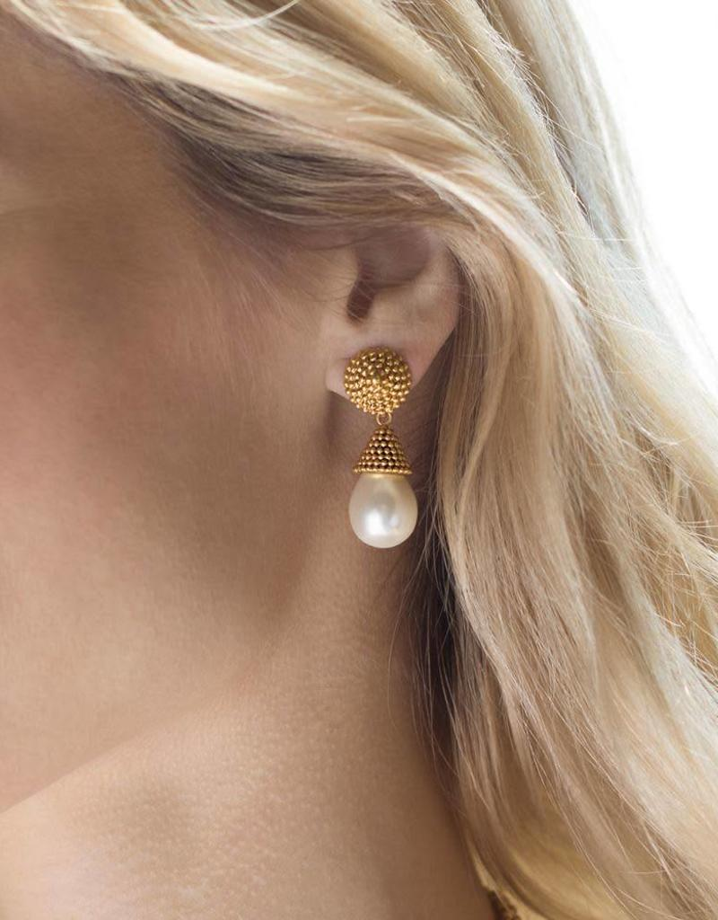Julie Vos Luxor Earring Gold Pearl